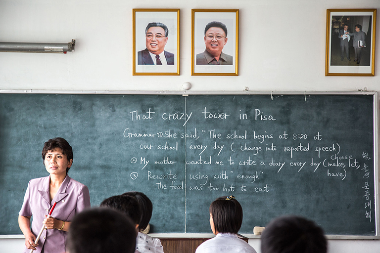 Supposedly a English class already in session at the Kim Jong-suk High School in Pyongsong. A British tourist, who was also there and happened to be—no joke—an English teacher, was stumped by the lesson on the board. A closer look at what was written reveals why.